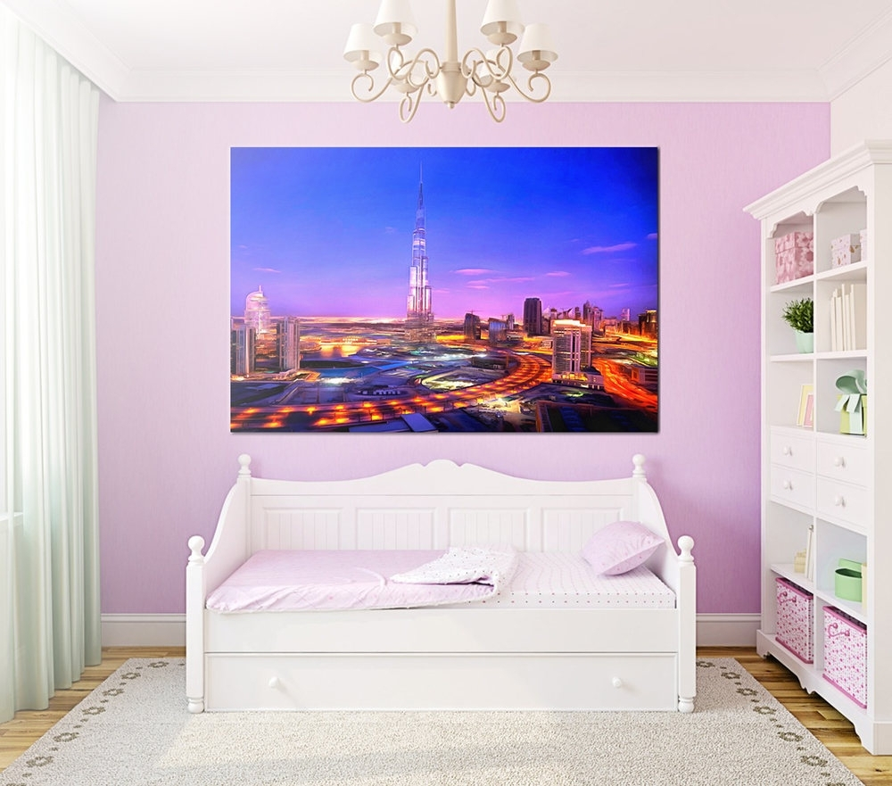 Night Dubai Canvas, Night City Large Art Painting, Dubai Business Inside Most Popular Dubai Canvas Wall Art (View 12 of 15)