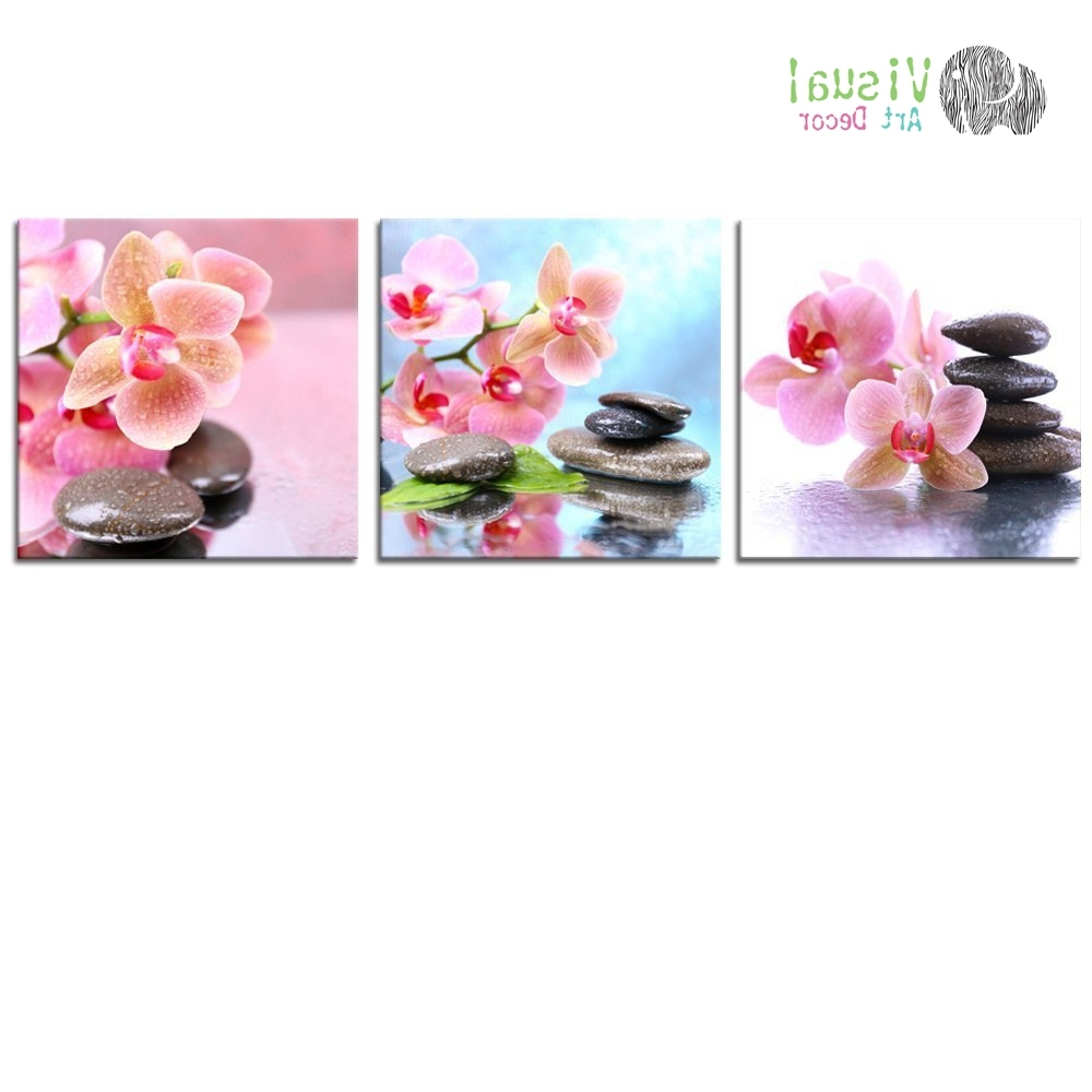 Non Framed Canvas Prints Zen Wall Art Spa Still Life Stone Art Intended For Most Recent Orchid Canvas Wall Art (View 10 of 15)