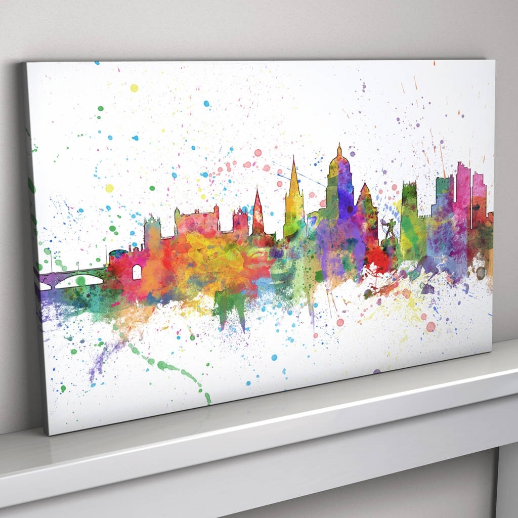 Nottingham Canvas Wall Art With Famous Nottingham Skyline Cityscape Paint Splashes Printartpause (Gallery 7 of 15)