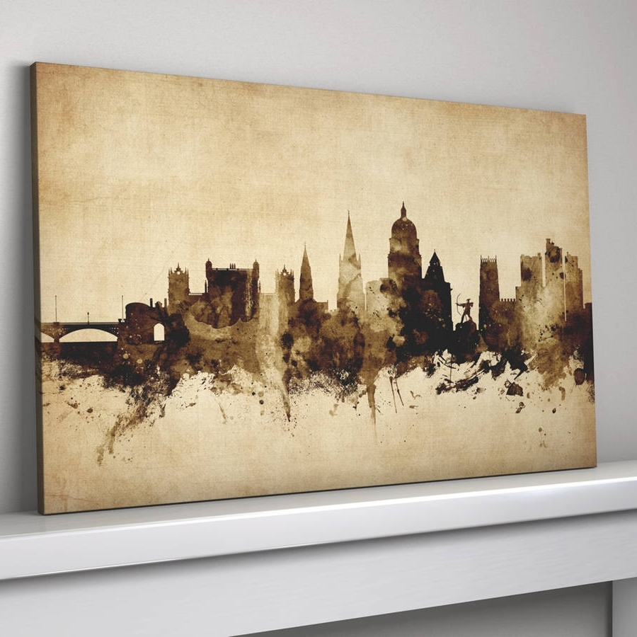 Nottingham Canvas Wall Art With Newest Nottingham Skyline Cityscape Vintage Art Printartpause (View 9 of 15)
