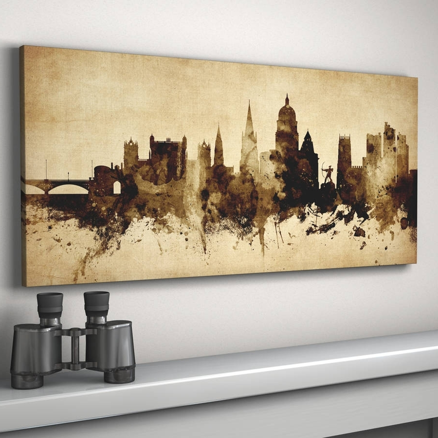 Nottingham Skyline Cityscape Vintage Art Printartpause With Regard To Most Up To Date Nottingham Canvas Wall Art (View 11 of 15)