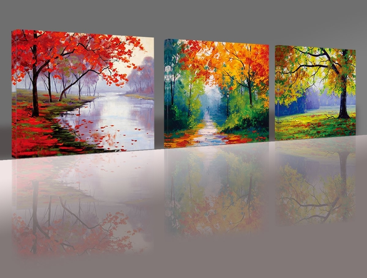 Nuolan Art – Framed Ready To Hang 3 Panels Modern Landscape Canvas Within Widely Used Landscape Canvas Wall Art (Gallery 3 of 15)