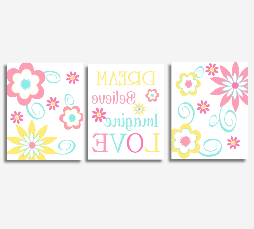 Nursery Canvas Wall Art In Popular Baby Girl Canvas Nursery Wall Art Pink Yellow Teal Aqua Modern (View 8 of 15)