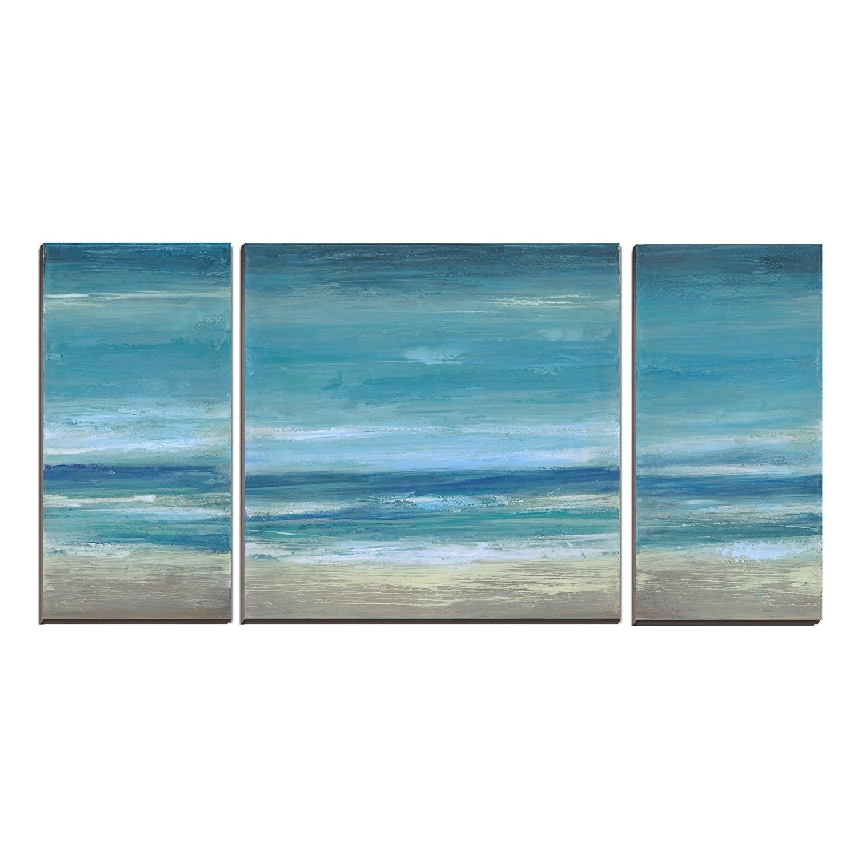 Ocean Canvas Wall Art In Newest Amazon: Cubism 3 Panels Seascape Ocean Canvas Prints Landscape (View 10 of 15)