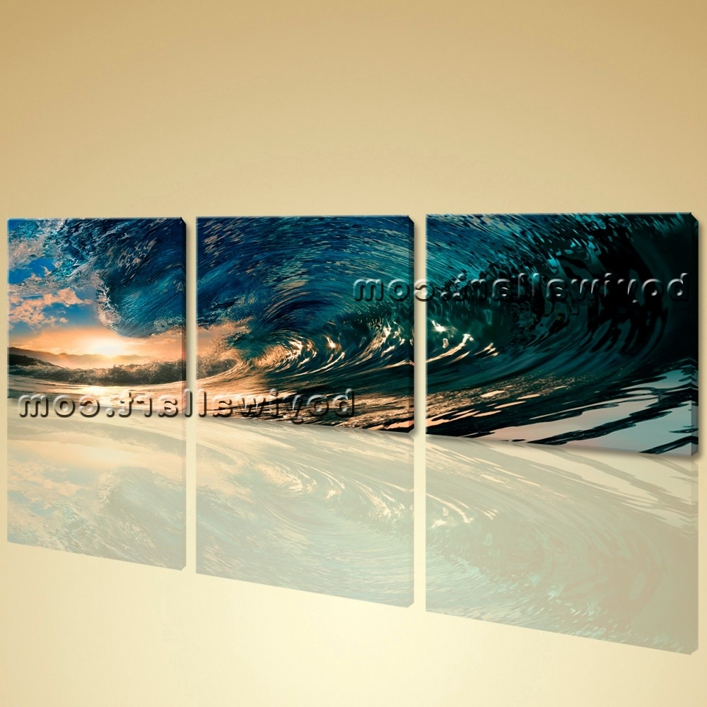 Ocean Canvas Wall Art Within Latest Wall Art Canvas Print Hd Ocean Wave Surf Sunset Contemporary Home (Gallery 9 of 15)
