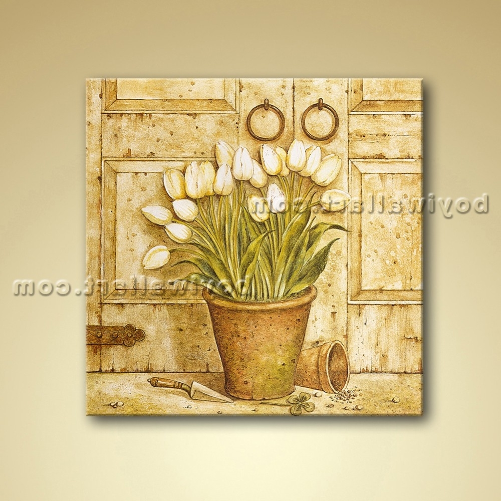 Oil Painting Oil Canvas Wall Art Retro Abstract Flower Home Decor Regarding Trendy Retro Canvas Wall Art (View 11 of 15)