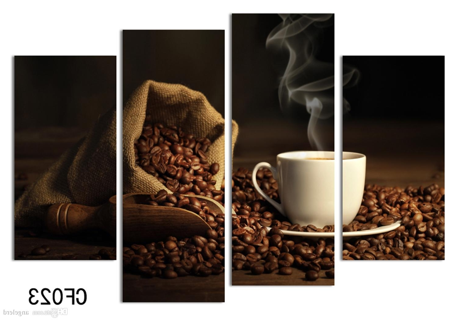 Online Cheap 4 Panels Modern Printed Coffee Canvas Art Painting For Popular Coffee Canvas Wall Art (Gallery 5 of 15)