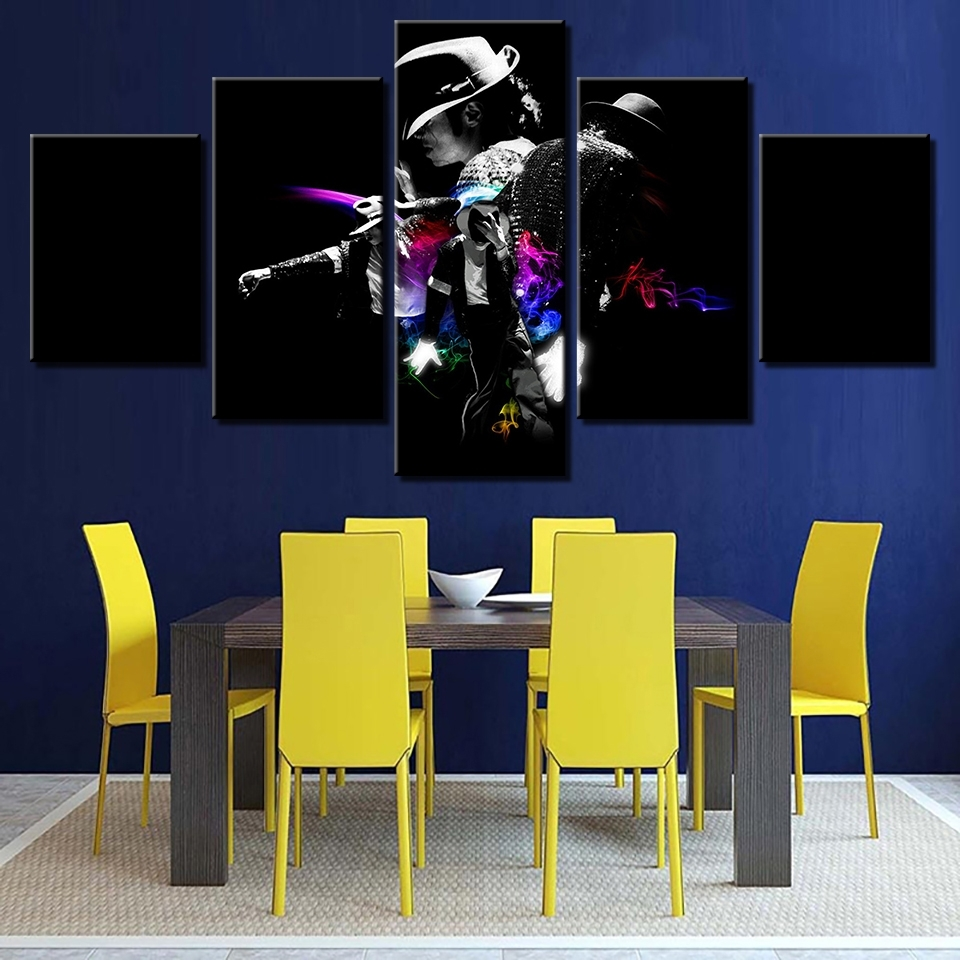 Online Shop Poster Wall Art Framework Modular Pictures 5 Panel In Latest Michael Jackson Canvas Wall Art (View 13 of 15)
