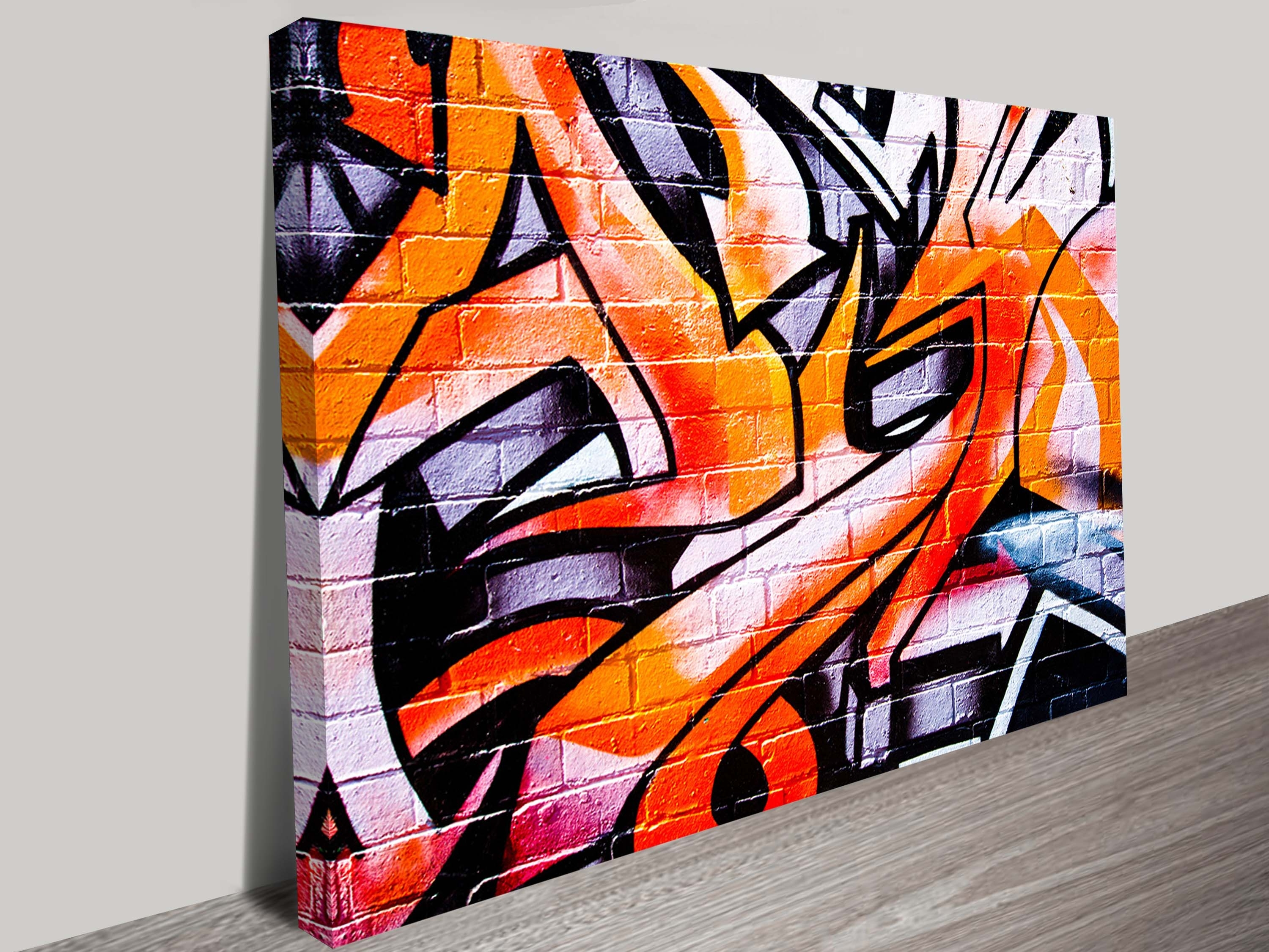 Orange Abstract Street Art Canvas (Gallery 13 of 15)