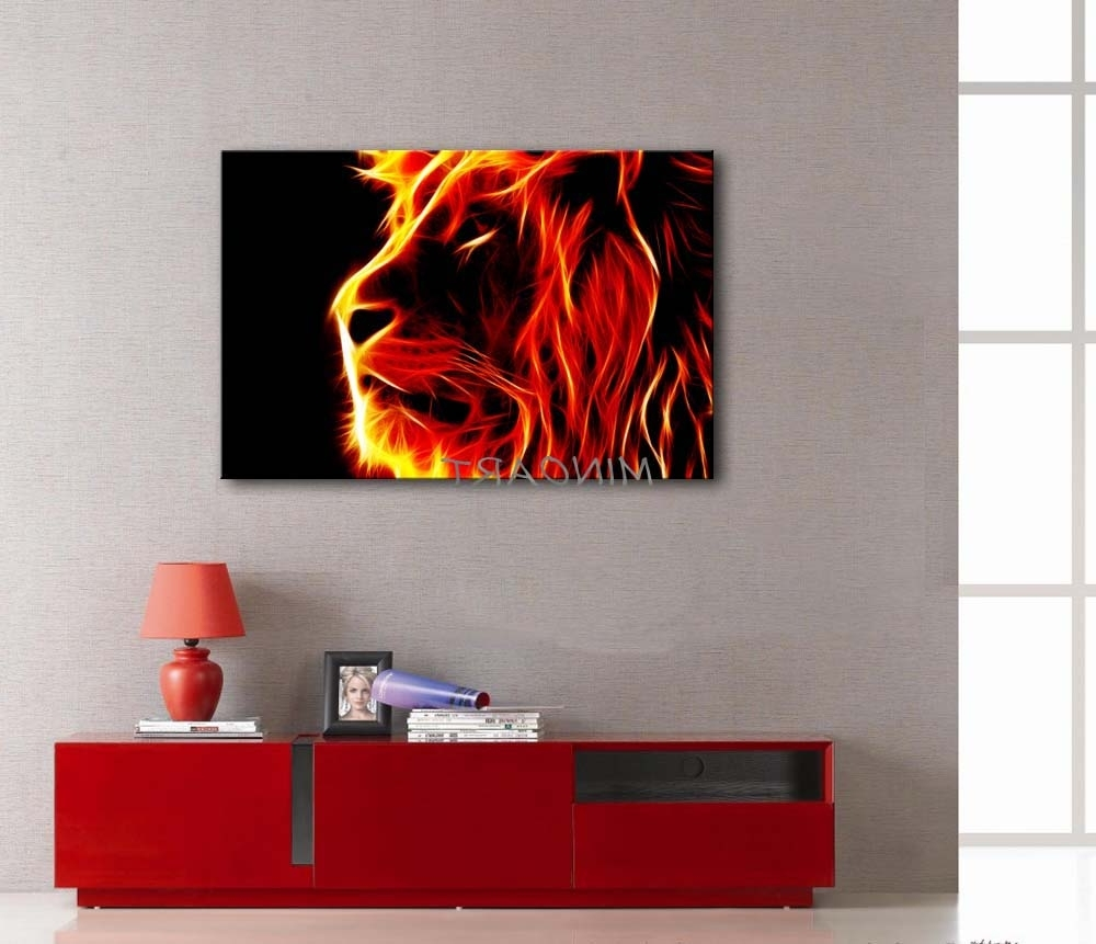Orange Canvas Wall Art In Fashionable 3 Piece Yellow Orange Wall Art Painting Lion Artistic Fire Black (Gallery 8 of 15)