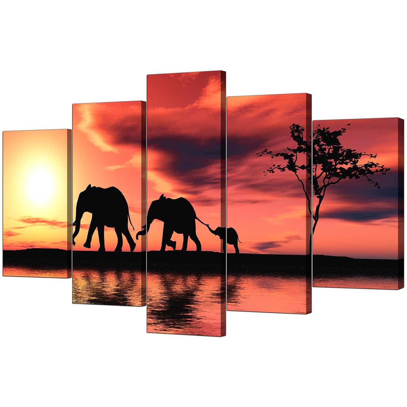 Orange Canvas Wall Art Pertaining To Popular Extra Large Elephants Canvas Prints 5 Piece In Orange (Gallery 9 of 15)