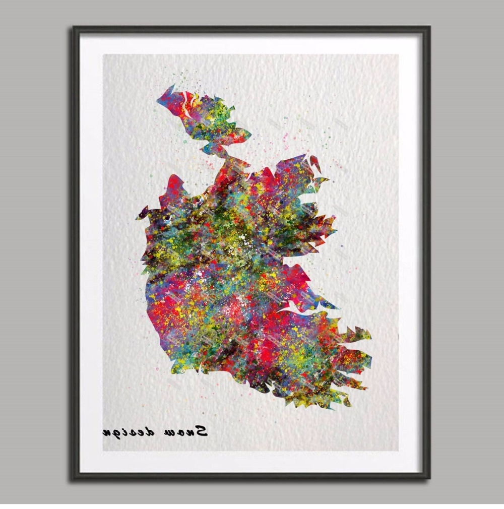 Original Watercolor Ireland Map Poster Print Pictures World Map Within Trendy Ireland Canvas Wall Art (View 14 of 15)