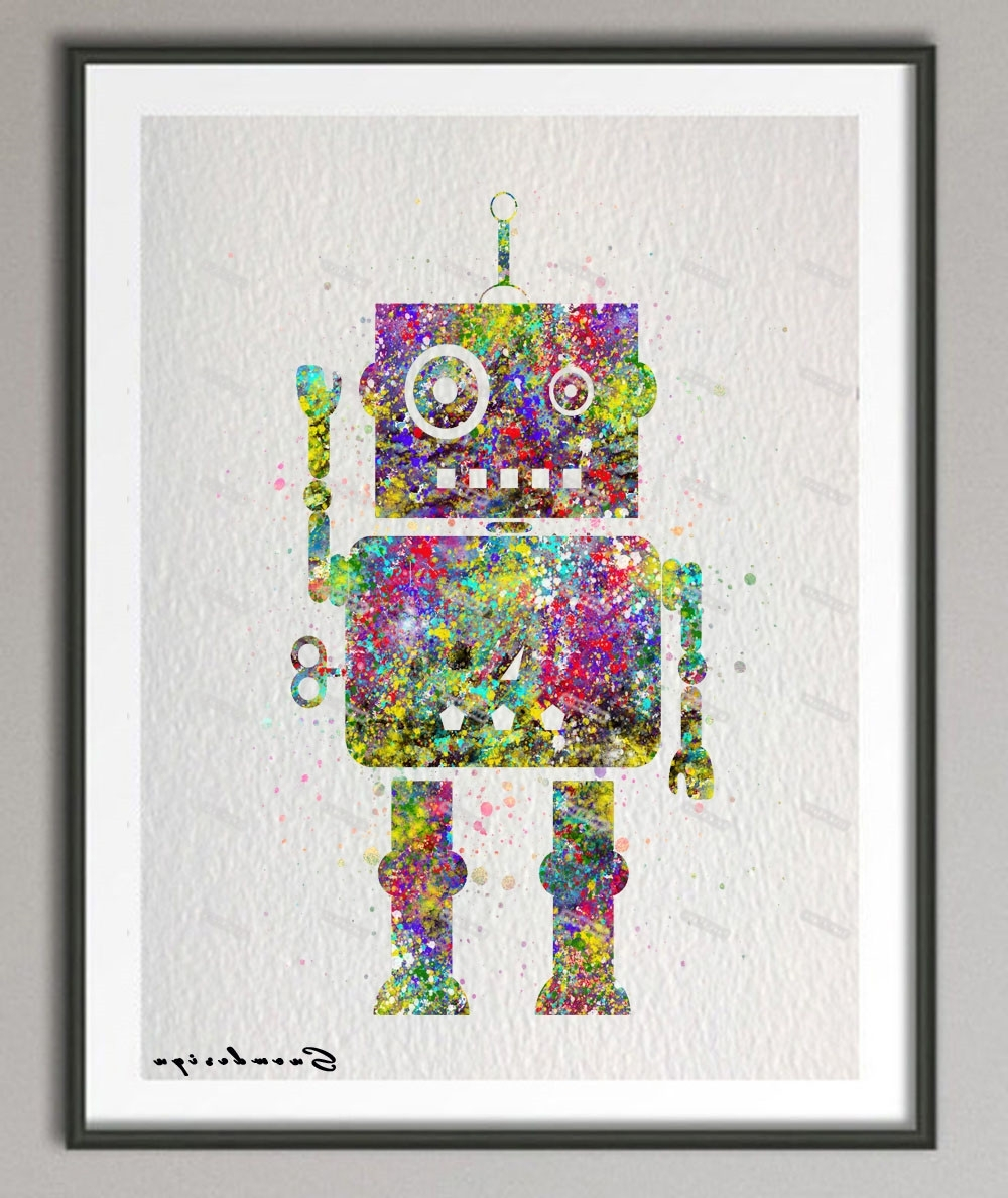Original Watercolor Robot Canvas Painting Nursery Wall Art Poster Throughout Widely Used Robot Canvas Wall Art (View 4 of 15)