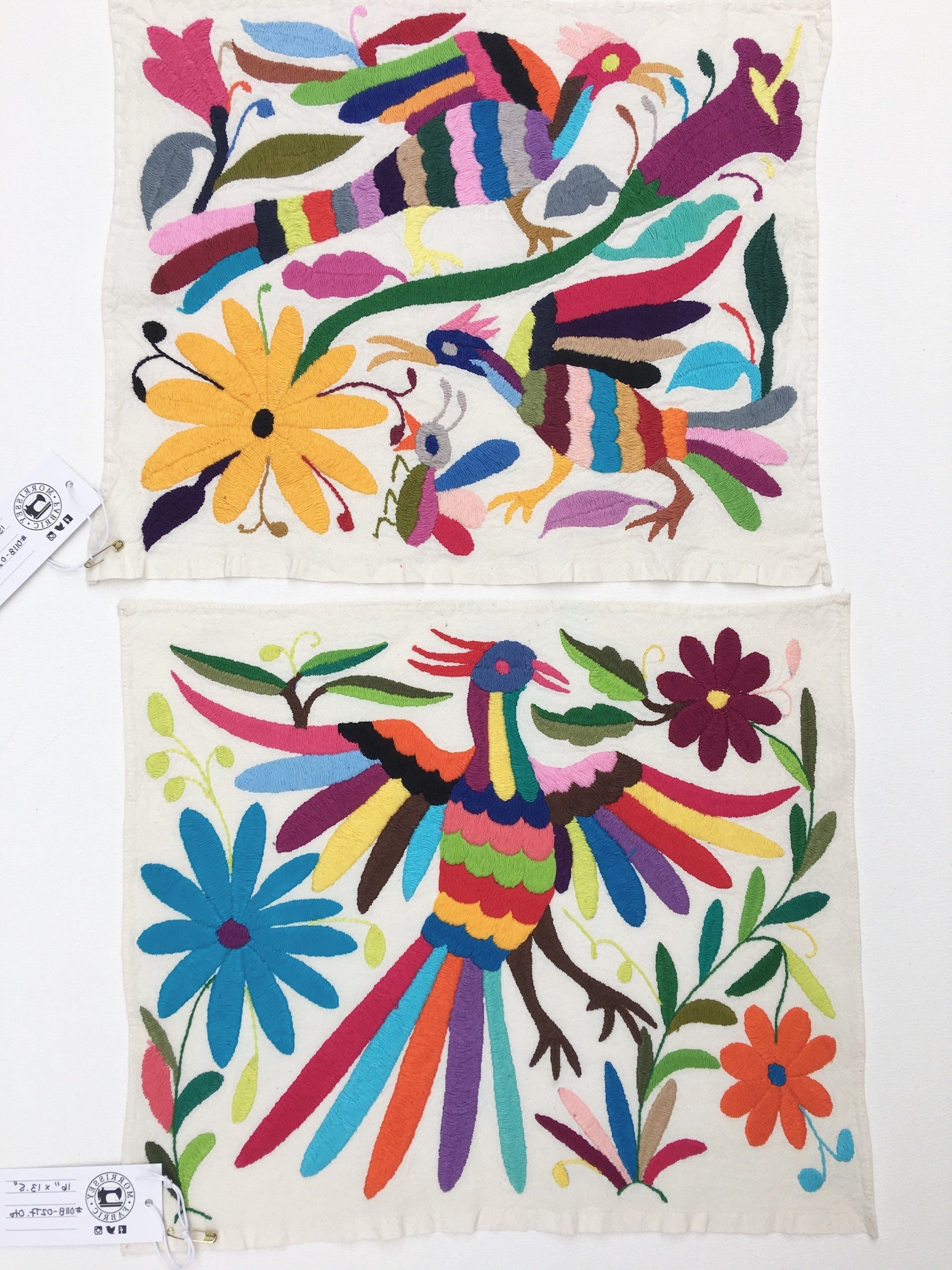 Otomi Mexican Embroidered Textile, Hand Embroidery On Ivory Cotton Throughout Famous Mexican Fabric Wall Art (Gallery 4 of 15)