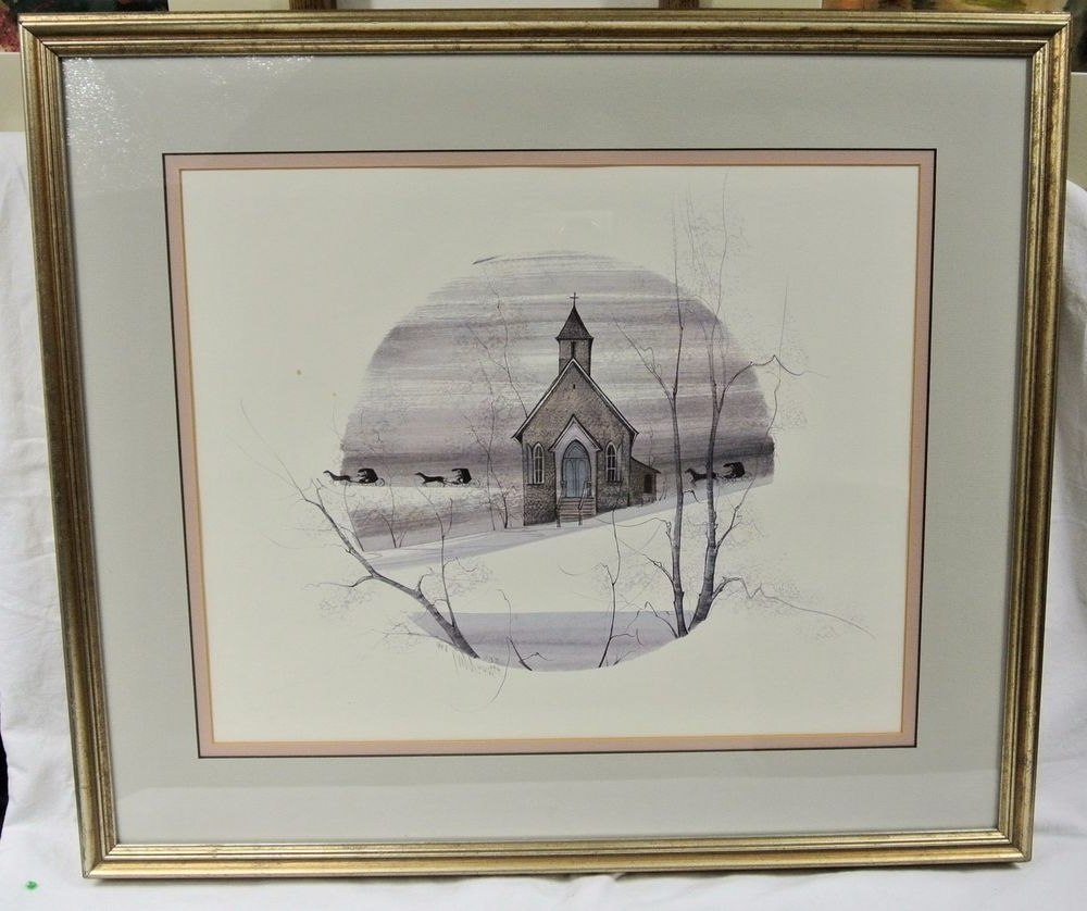"""P. Buckley Moss """"country Church"""" Nags Head Nc Signed & Numbered Inside Current Framed Folk Art Prints (Gallery 7 of 15)"""