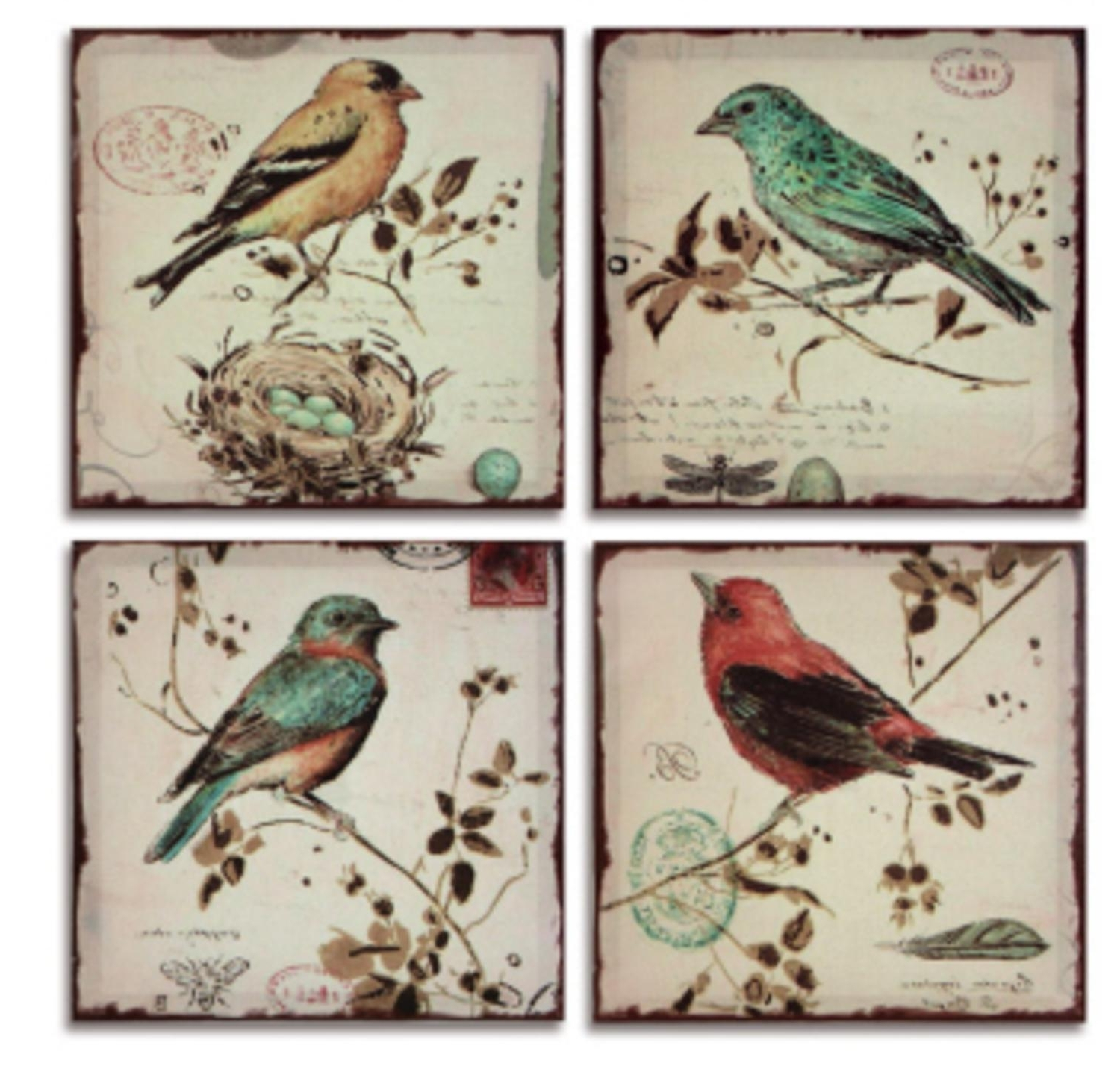 Pack Of 4 Multi Colored Bird Canvas Wall Hangings Wall Art Decor Within Most Current Birds Canvas Wall Art (View 10 of 15)