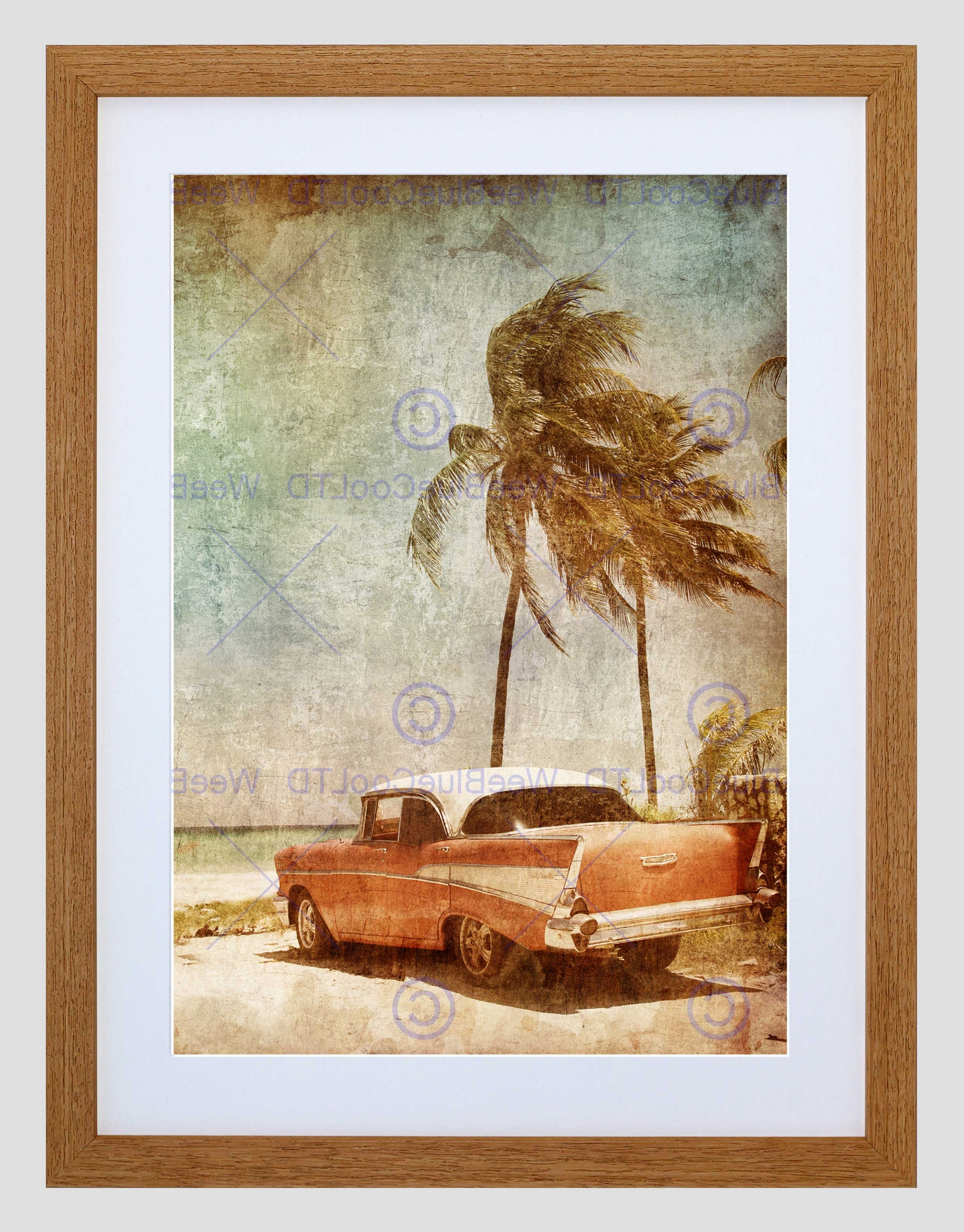 Painting Drawing Vintage Car Tropical Palm Beach Framed Art Print Intended For Well Known Framed Beach Art Prints (View 10 of 15)