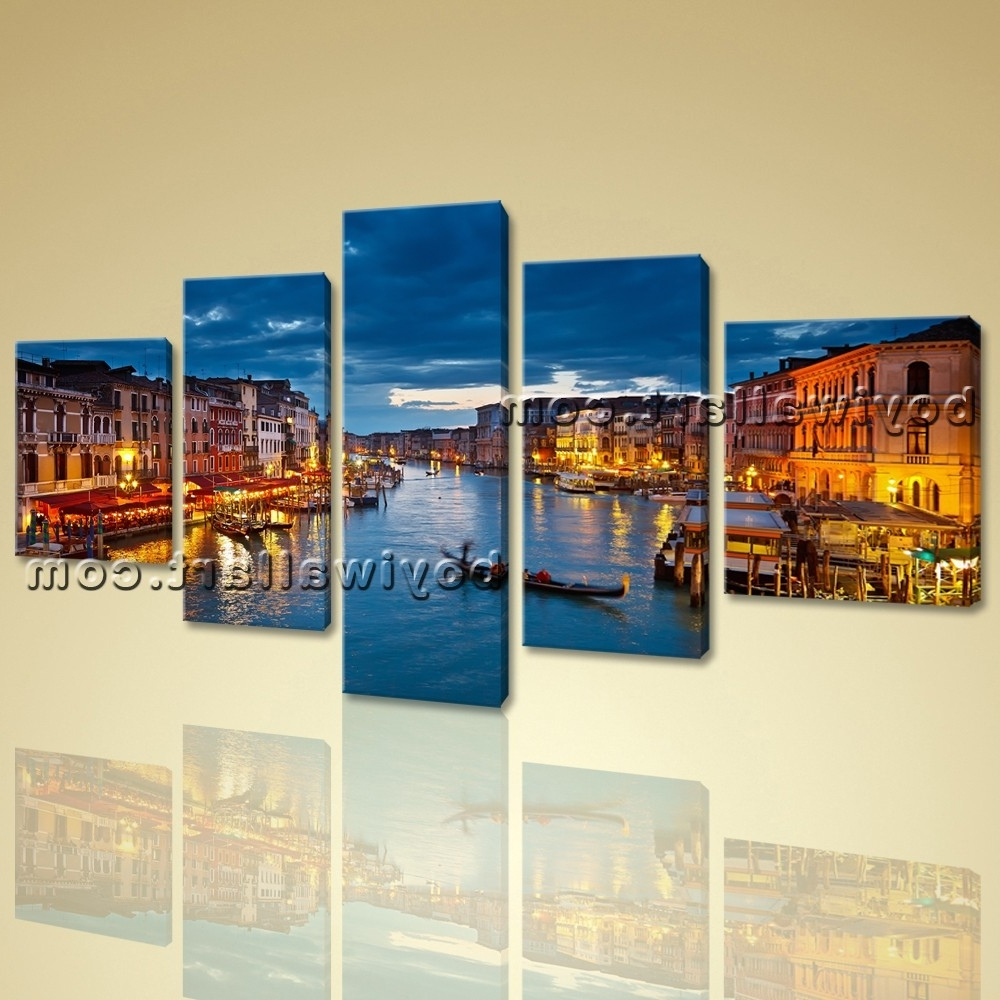 Panoramic Canvas Wall Art Throughout Latest Venice Night Scene Peaceful Large Wall Art Canvas Print Framed Blue (View 8 of 15)