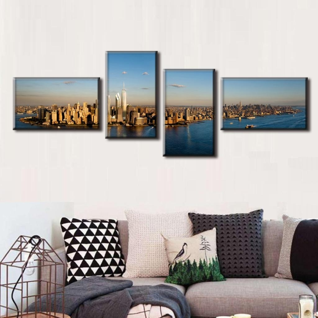 Panoramic Canvas Wall Art Throughout Most Recently Released 4 Pcs/set Modern Canvas Painting Landscape Canvas Prints Panorama (View 9 of 15)