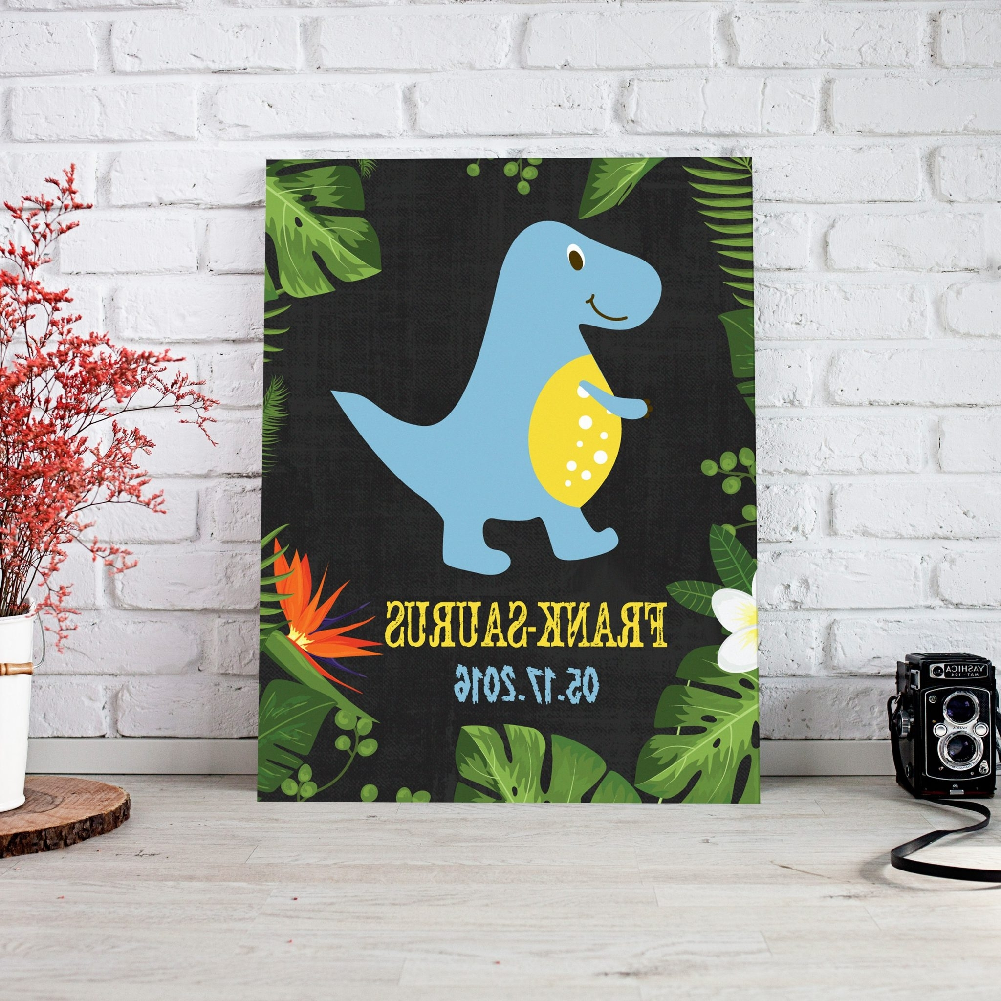Personalized Nursery Canvas Wall Art For Most Up To Date Blue Dinosaur Personalized Nursery Décor Canvas Wall Art – Paper Blast (View 5 of 15)