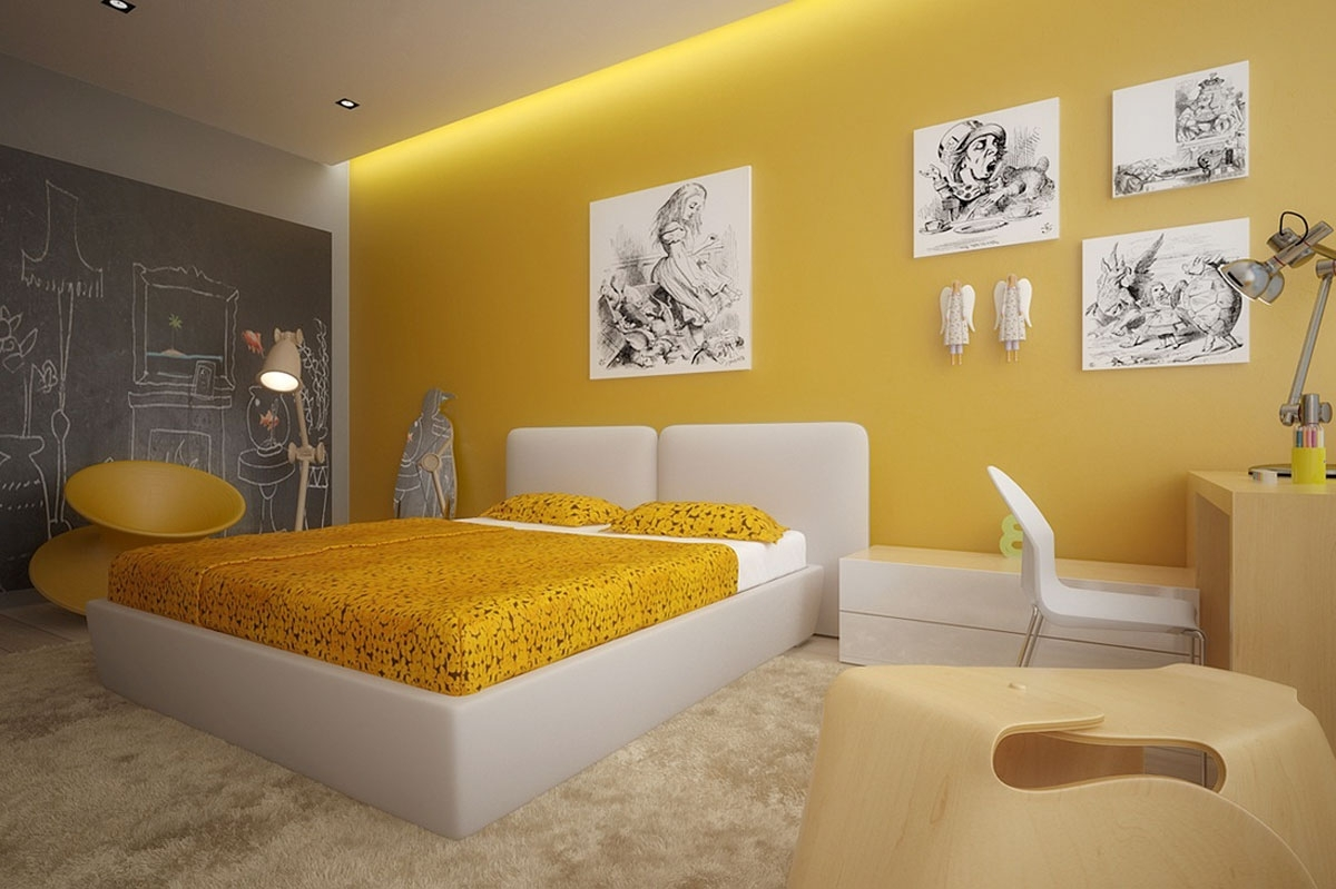 Pictures Of Yellow Bedroom Design With Gray Curtains And Wall With Regard To 2017 Yellow Wall Accents (View 9 of 15)