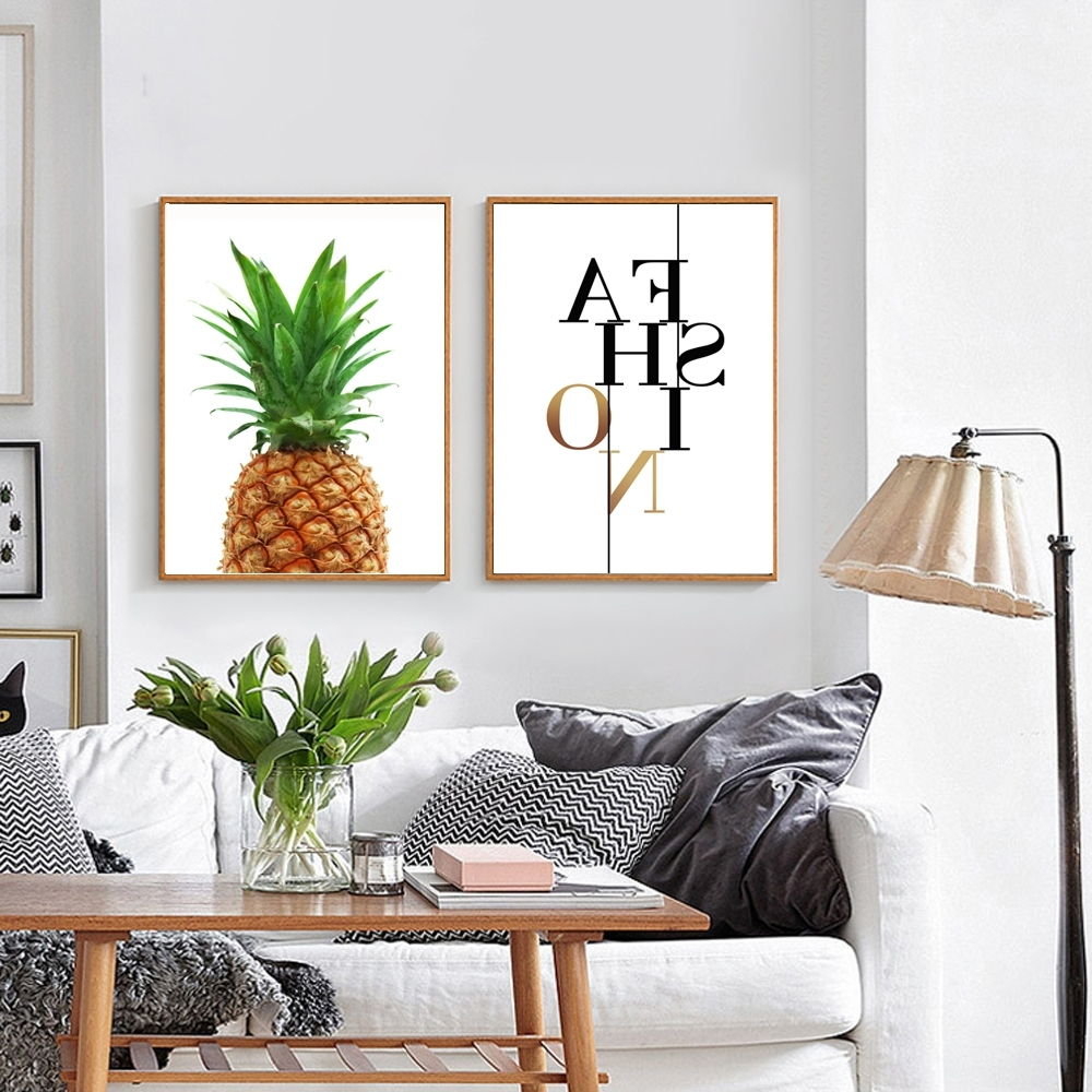 Pineapple Print Fabric, Pineapple Wall Art, Pineapple Poster Regarding Best And Newest Large Print Fabric Wall Art (View 12 of 15)