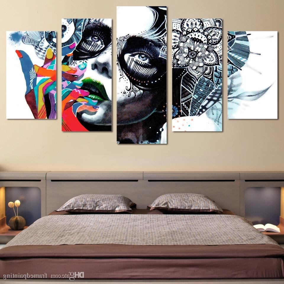 Popular 2018 Framed Hd Printed Canvas Prints Wall Art Abstract Girl Mask Regarding Girl Canvas Wall Art (View 13 of 15)