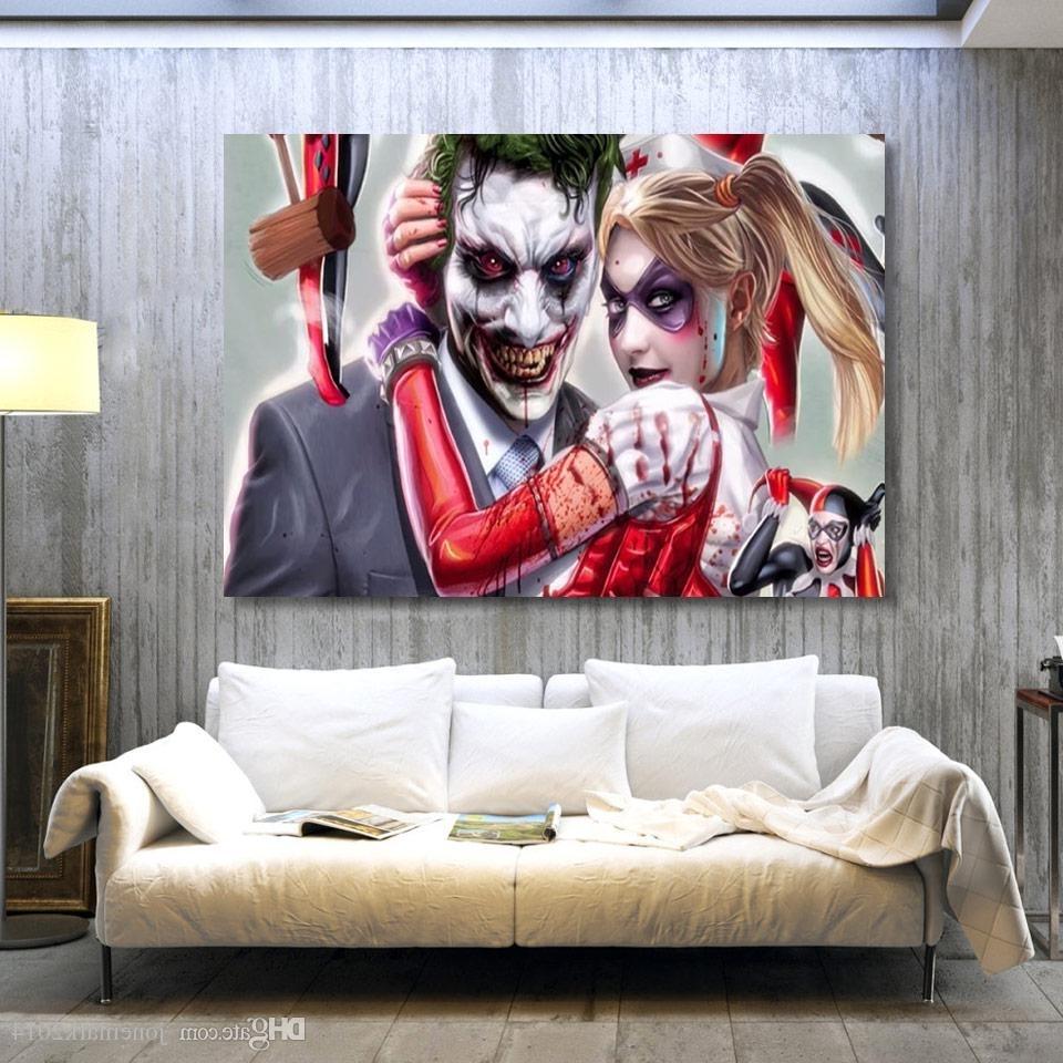 Popular 2018 Joker Harley Quinn Comics Wall Art Canvas Pictures For Living Throughout Joker Canvas Wall Art (View 5 of 15)