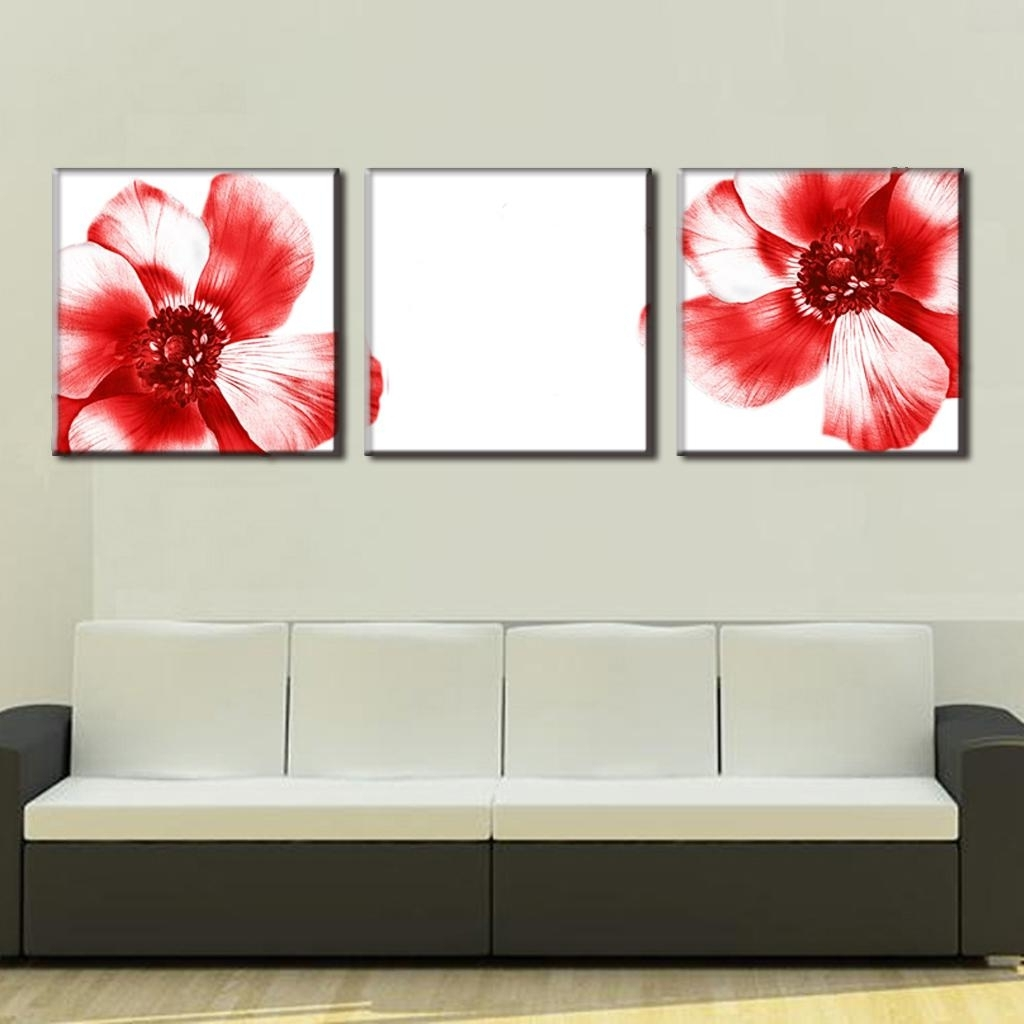Popular 3 Pcs/set Modern Wall Paintings Two Red Flowers Canvas Prints Art Intended For Red Flowers Canvas Wall Art (View 7 of 15)