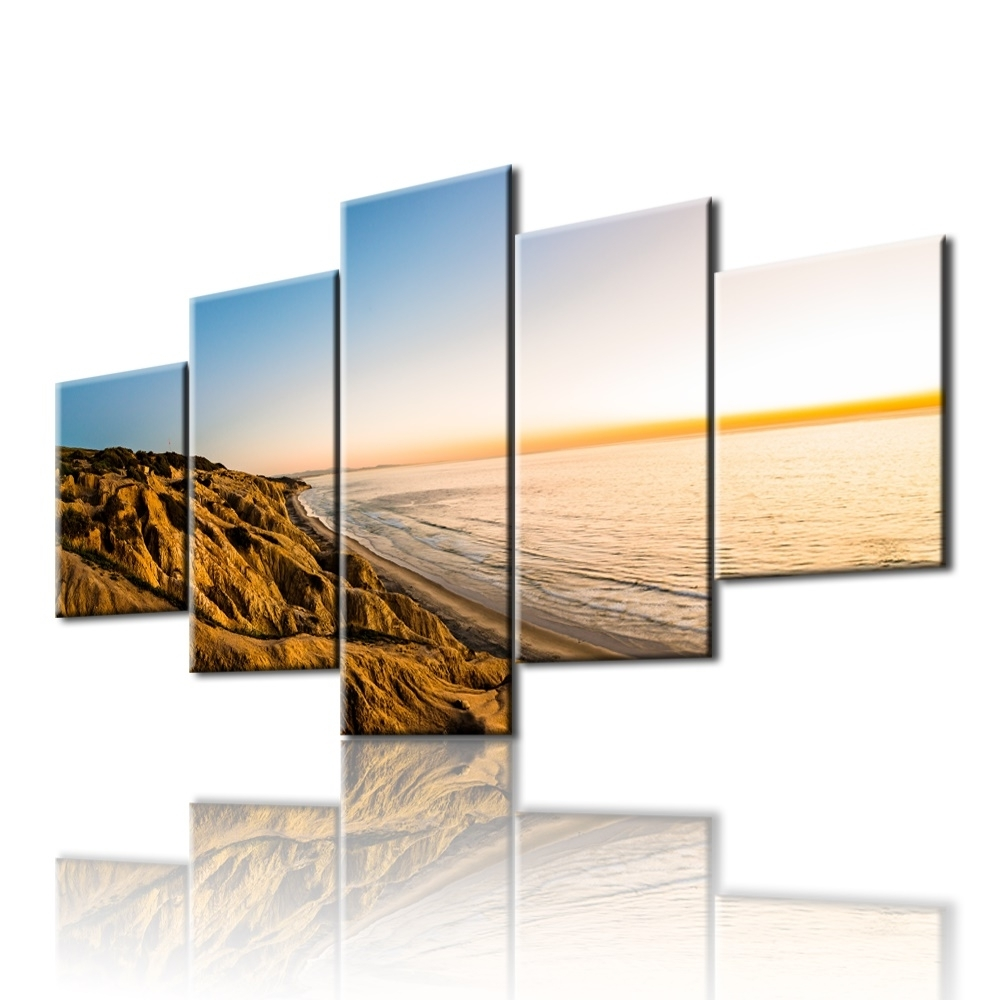 Popular 5pcs The Gold Coast Printed Canvas Picture Oil Painting On Canvas Intended For Gold Coast Canvas Wall Art (View 9 of 15)