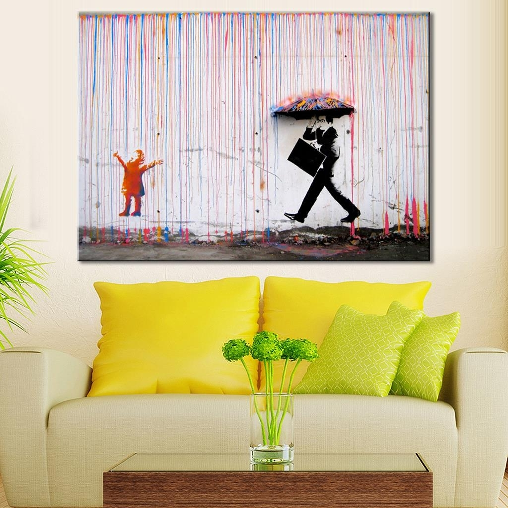 Popular Banksy Art Colorful Rain Wall Canvas Wall Art Living Room Wall Throughout Living Room Canvas Wall Art (View 12 of 15)