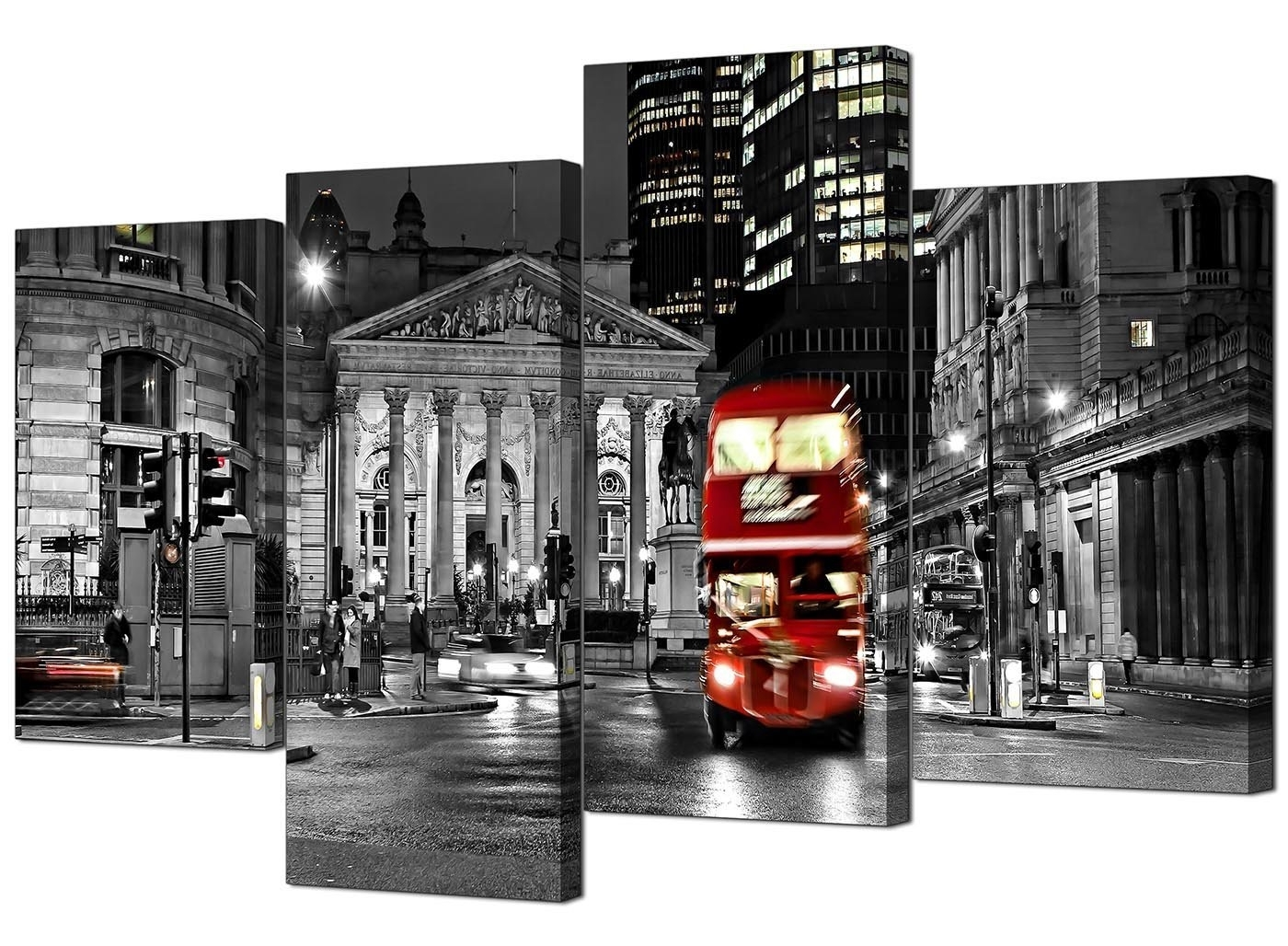 Popular Canvas Wall Art Of London Pertaining To Canvas Prints Of A Red London Night Bus On A Black And White (View 6 of 15)