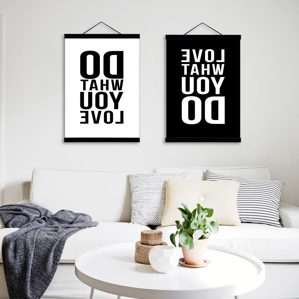 Popular Canvas Wall Art Quotes With Love Black White Modern Inspirational Poster Prints Canvas (View 9 of 15)