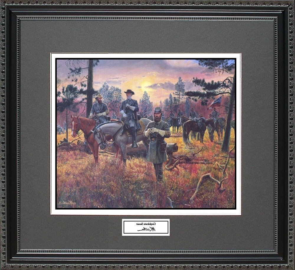 Popular Confederate Framed Art Prints Inside Amazon: Mort Kunstler Confederate Sunset Framed Wall Art Civil (View 9 of 15)