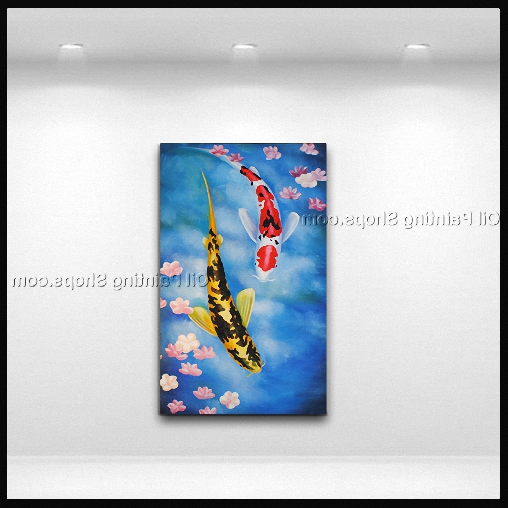 Popular Elegant Feng Shui Zen Art Contemporary Painting Koi Fish Oil On Canvas With Regard To Koi Canvas Wall Art (View 12 of 15)