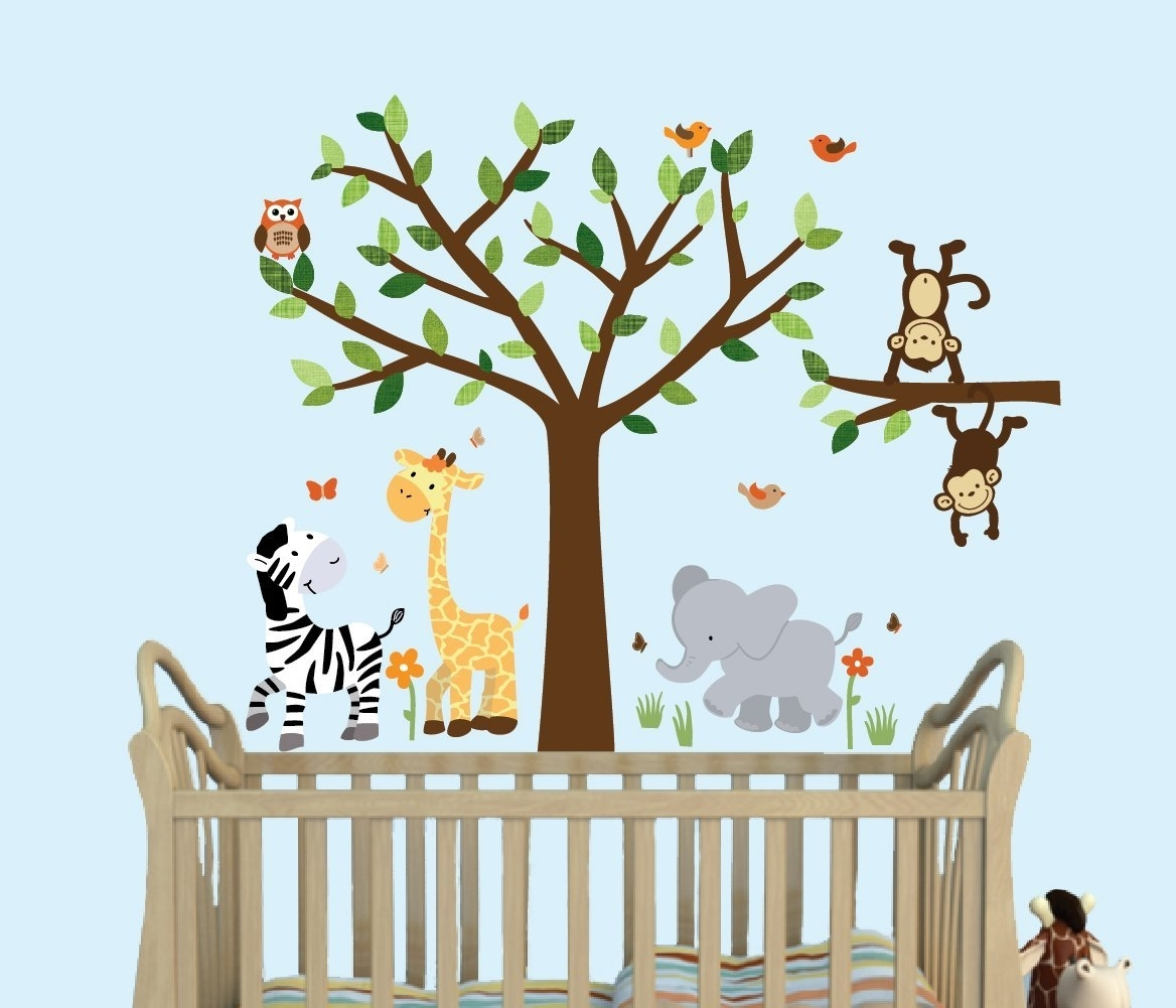 Popular Fabric Tree Wall Art With Amazon : Safari Pride, Tree Wall Decals, Jungle Stickers With (View 12 of 15)