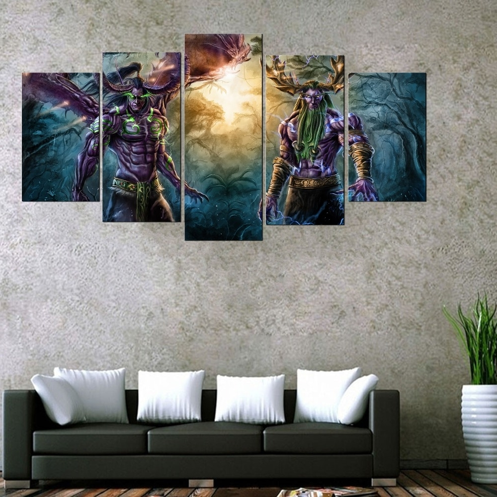 Popular Gaming Canvas Wall Art Throughout 5 Panel World Of Warcraft Game Poster Wall Art Picture & 15 Best Gaming Canvas Wall Art