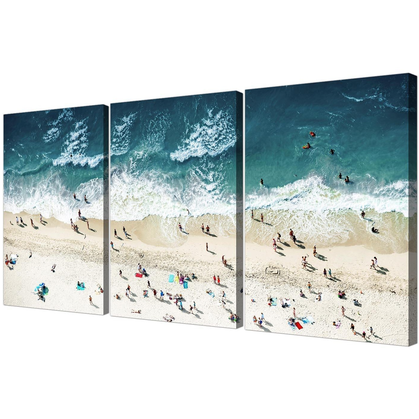 Popular Gold Coast Canvas Wall Art Pertaining To Panoramic Blue Beach – Landscape Canvas Multi 3 Panel – 125Cm Wide (View 11 of 15)