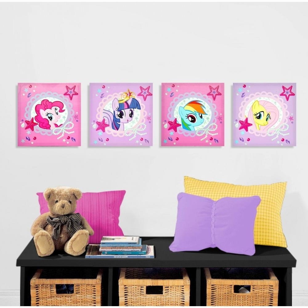 Popular Hello Kitty Canvas Wall Art With My Little Pony 4 Piece Canvas Wall Art – Walmart (View 13 of 15)