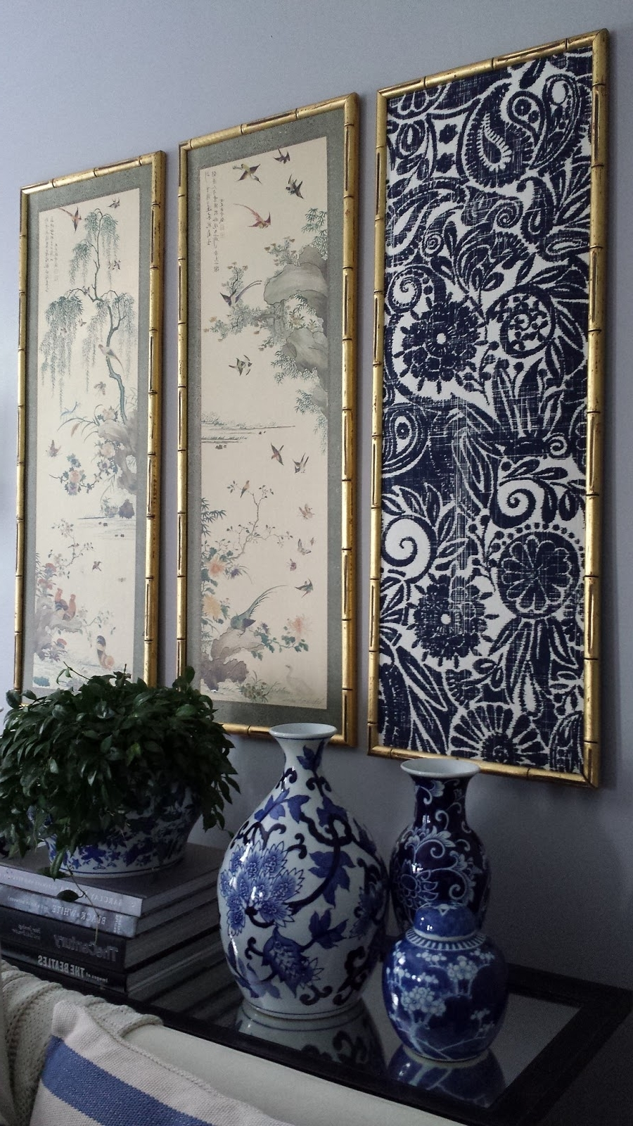 Popular Ikat Fabric Wall Art Throughout Focal Point Styling: Diy Indigo Wall Art With Framed Fabric (View 2 of 15)