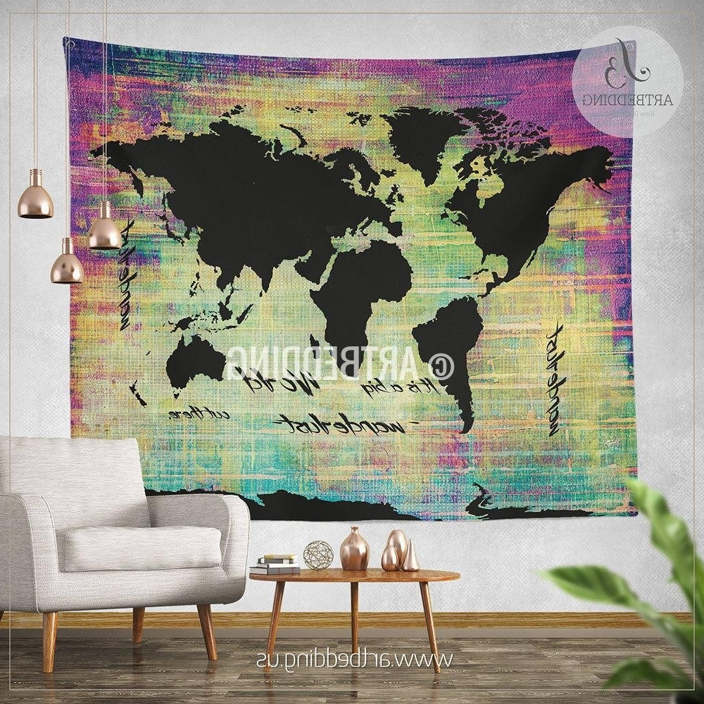 Popular Ikea Fabric Wall Art Throughout World Map Canvas Nz Copy Amusing World Map Wall Hanging Fabric (View 8 of 15)