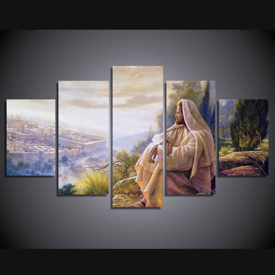 Popular Jesus Canvas Wall Art Within Print 5 Pcs Canvas Wall Art Print Jesus Default Painting Wall Art (View 2 of 15)