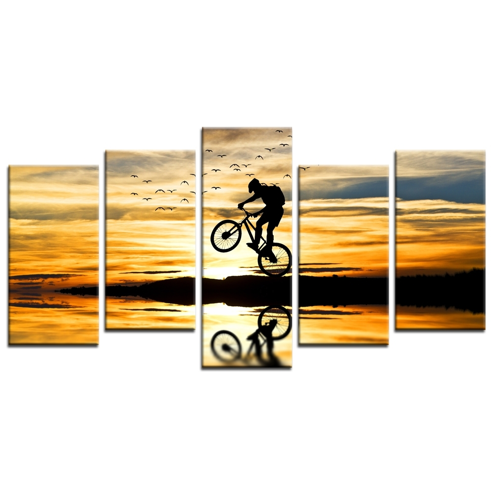 Popular Jump Canvas Wall Art Pertaining To Mountain Bike Racing Canvas Wall Art Bike Jump Poster Prints (View 14 of 15)