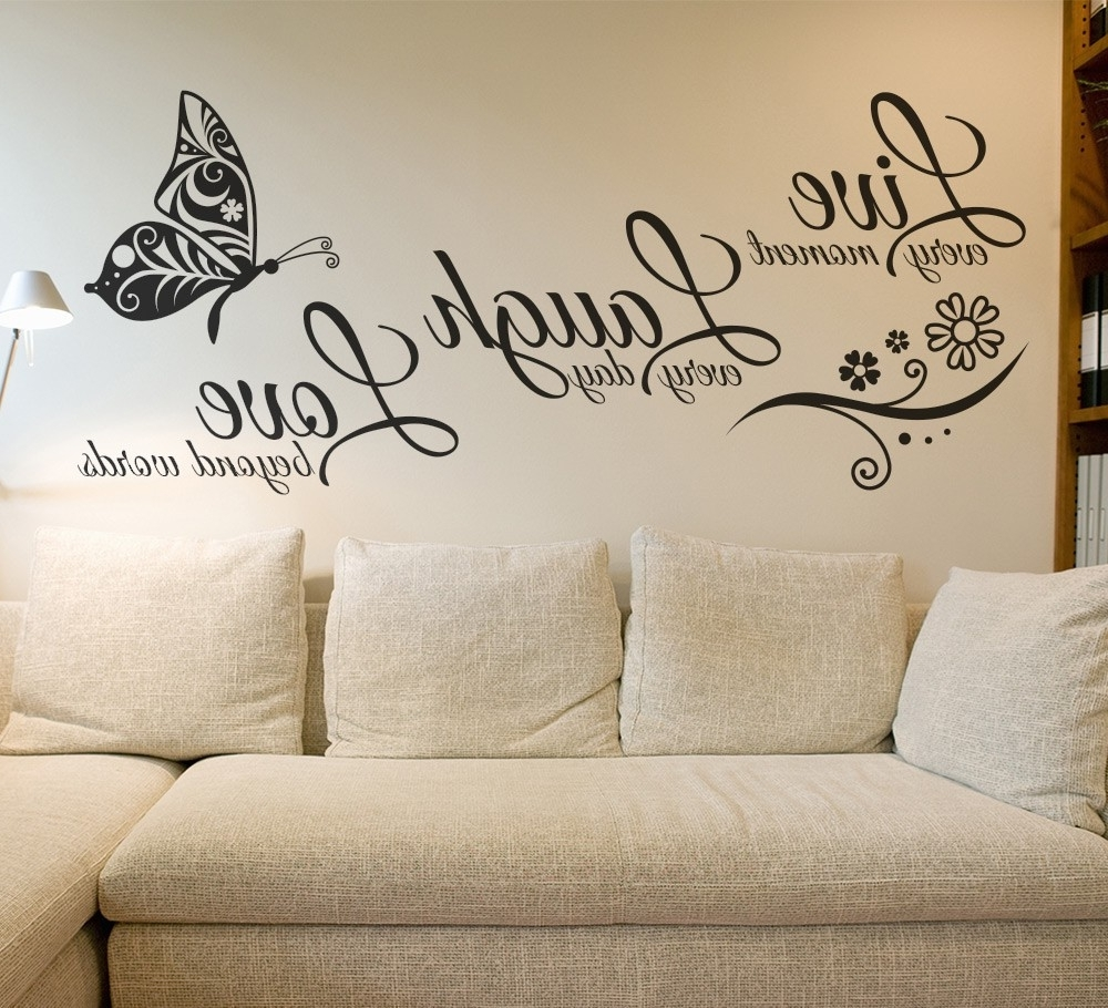 Popular Live Laugh Love Canvas Wall Art Throughout Live Laugh Love Butterfly Flower Wall Art Sticker Modern Wall (View 8 of 15)