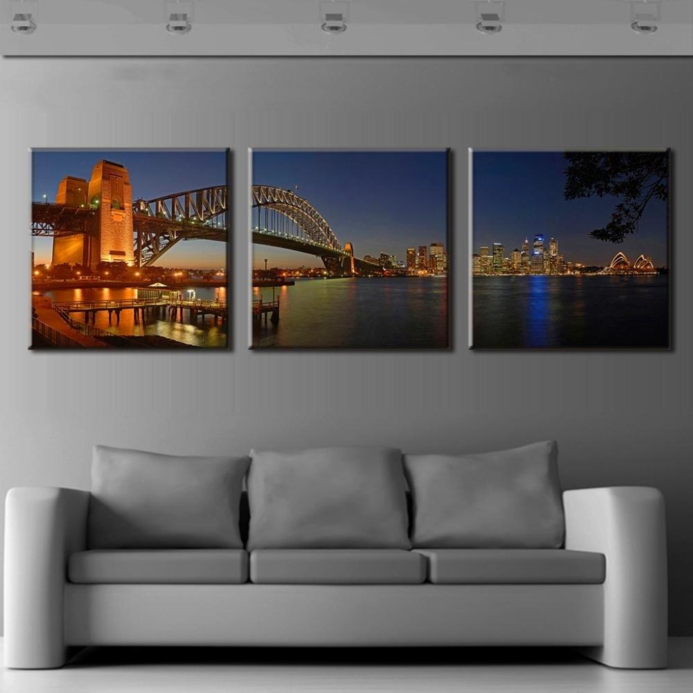 Popular Modern Canvas Wall Art Regarding 3 Pcs/set Modern Wall Paintings Sydney Harbour Bridge Night Scene (View 6 of 15)