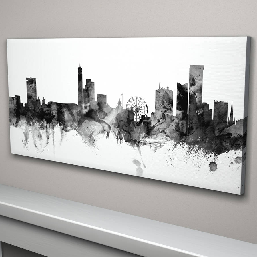 Popular Nottingham Canvas Wall Art Intended For Birmingham Skyline Cityscape Black And Whiteartpause (View 12 of 15)