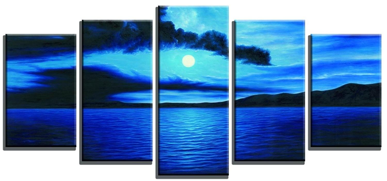 Popular Ocean Canvas Wall Art In Amazon: Wieco Art – Dark Blue Ocean White Sun Modern 5 Piece (View 10 of 15)