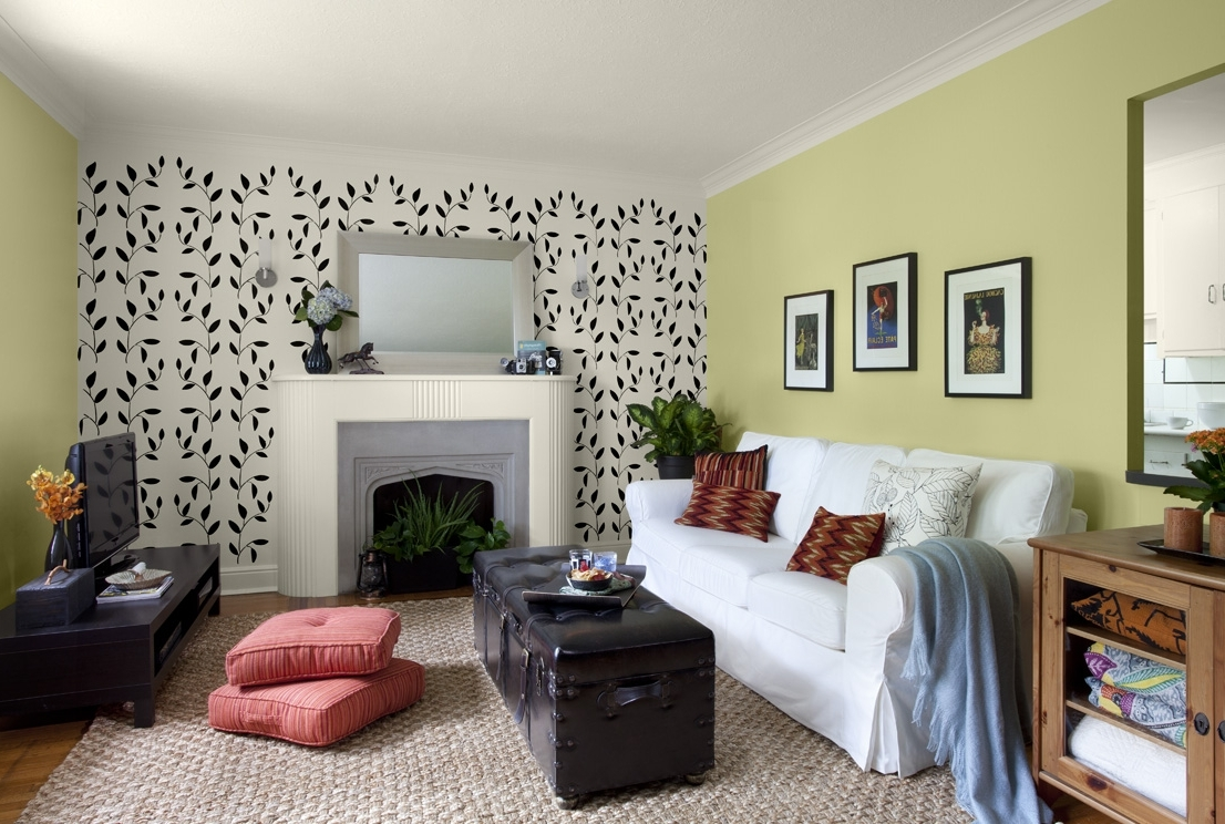Popular Simple Green Wallpaper Accent Wall For Living Rooms Wallpaper Inside Green Room Wall Accents (View 4 of 15)