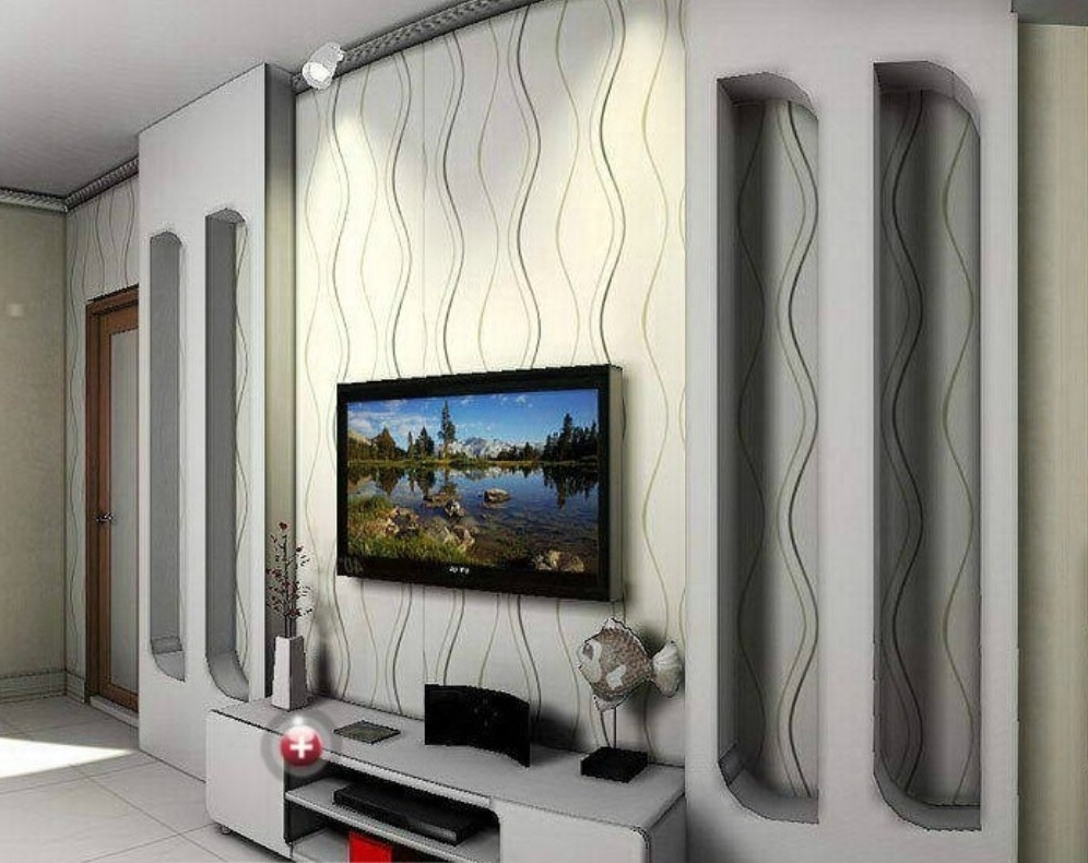 Popular Wall Accents With Tv Regarding Ideas Yellow Flower Photolpapers Murals Living Room Bedrooml Art (View 7 of 15)