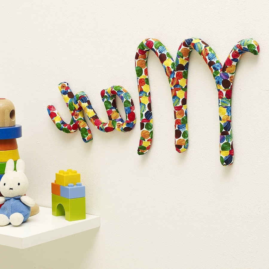 Popular Wall Art Design Ideas: 3D Polka Dot Wall Name Art Theme Toys Within Baby Names Canvas Wall Art (View 10 of 15)